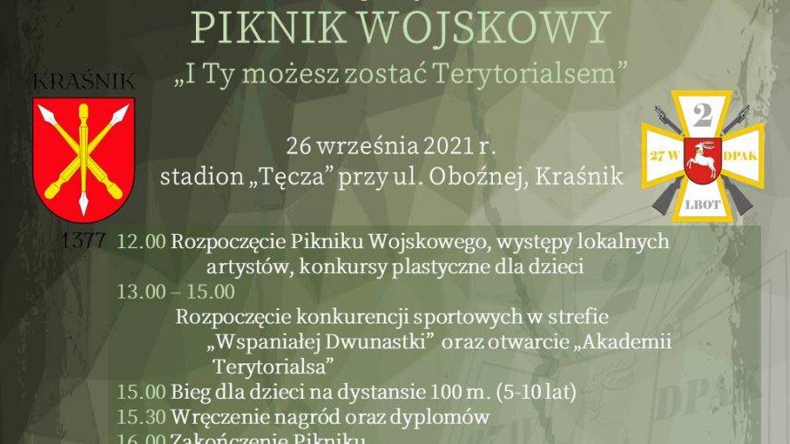Na plakacie są zawarte informacje dotyczące pikniku.